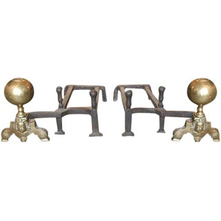 19th Century Pair of Double-Arm Andirons