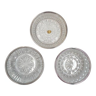 Italian Crystal and Silver Plate Serving Bowls - Set of 3