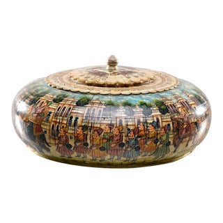 Large Hand Painted Kashimiri Lidded Box - Pink, Blue & Multi Colored For Sale