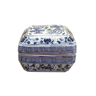 Chinese Oriental Small Blue White Porcelain Square Box Container For Sale