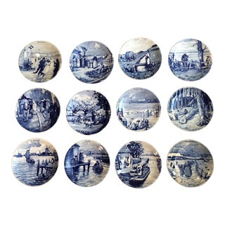 Delft China Plates With Boxes - Set of 12