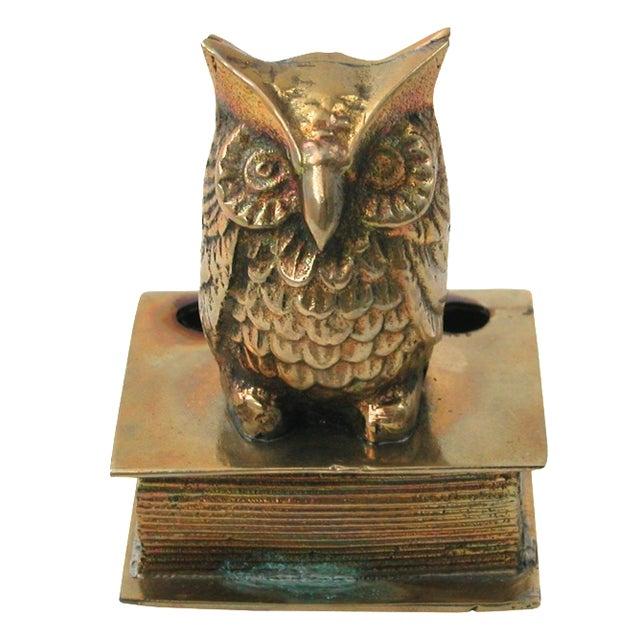 Vintage Brass Owl Pen Holder - Image 1 of 8