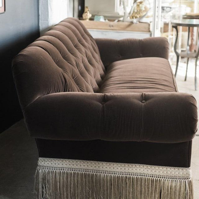 British Colonial Mocha Brown Velvet Tufted Chesterfield With Fringe by Century Furniture For Sale - Image 3 of 13