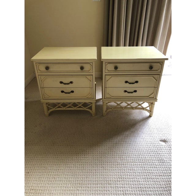Wood Vintage Ficks Reed Faux Bamboo Three Drawer Nightstands - A Pair For Sale - Image 7 of 7