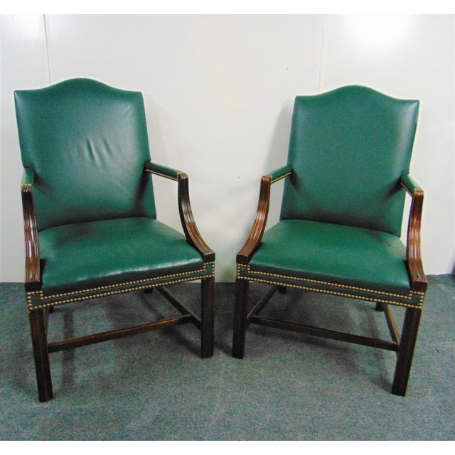 Chippendale Hickory Chair Co Mahogany Leather Library Chairs - a Pair For Sale - Image 3 of 9