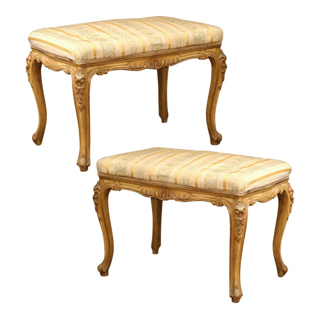 19th Century French Louis XV Carved Painted Stools With Silk Fabric - a Pair For Sale