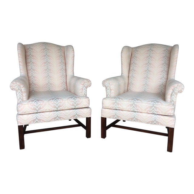 Drexel Traditional Classics Chippendale Style Wing Back Chairs - A Pair - Image 1 of 9
