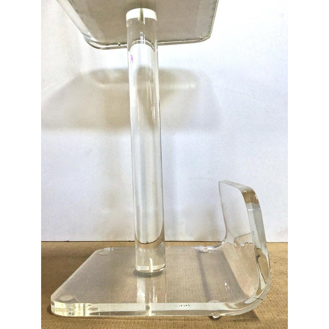 Set of Three Vintage Lucite Bar Stools, Newly Upholstered Seat For Sale - Image 11 of 13
