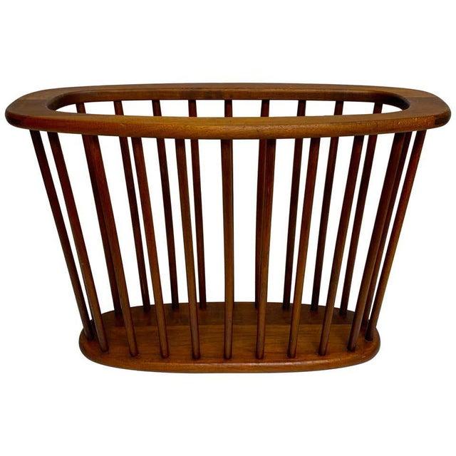 Brown Danish Modern Oval Spindle Teak Magazine Rack For Sale - Image 8 of 8