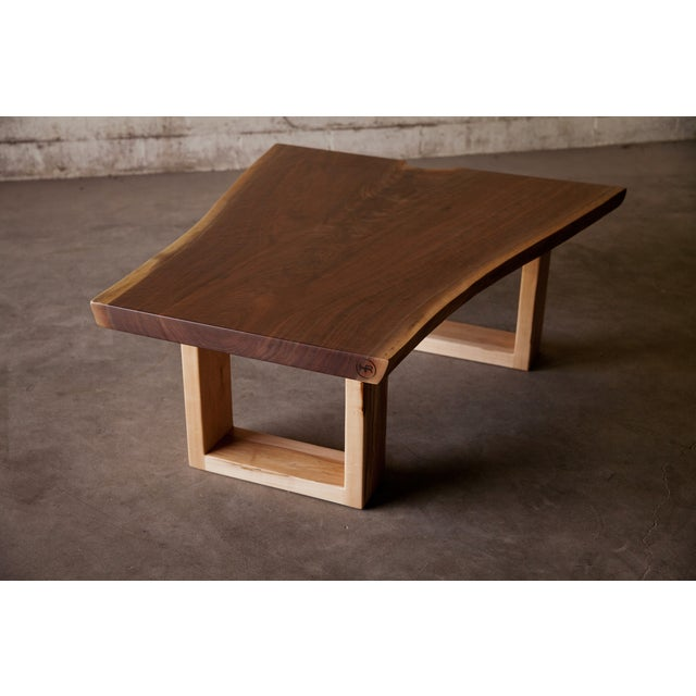 Live Edge Walnut Coffee Table With Maple Base - Image 2 of 6