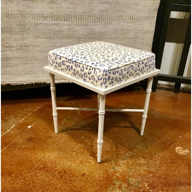 Original Retail $825, Stylish transitional Port 68 bench with a grayish white antique crackle finished bamboo metal frame...