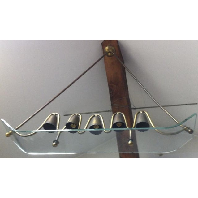 1950s Pietro Chiesa for Fontana Arte Ski Shaped Glass and Brass Chandelier For Sale - Image 5 of 5