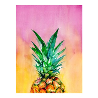 Christine Lindstrom Ombre Pineapple Original Watercolor Painting