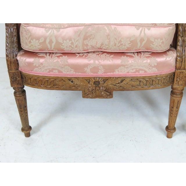 Antique Louis XVI Style Carved Oak Bergères - Pair - Image 2 of 5