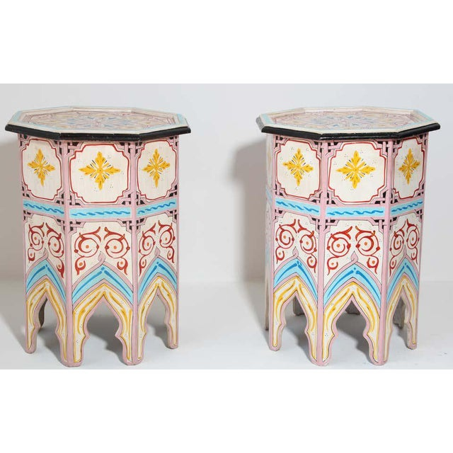 Late 20th Century Moroccan Hand Painted Side Tables - a Pair For Sale - Image 5 of 13