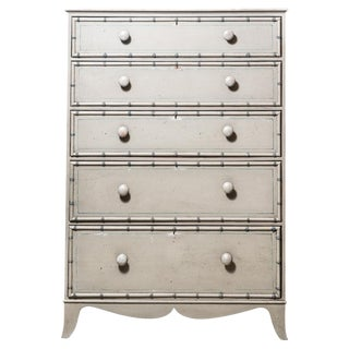 Tall Painted Pine Chest of Drawers C. 1850 For Sale