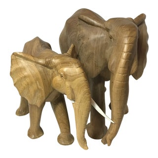 Hand Carved Wood Elephant Figures - a Pair
