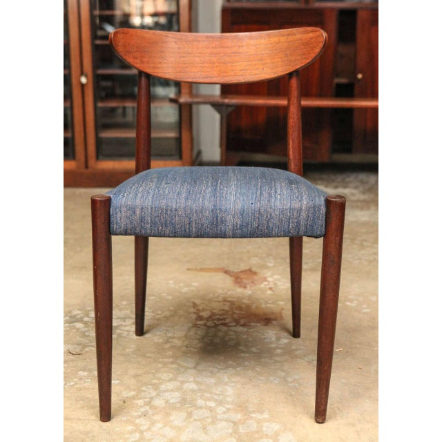 Mid Century Set Of Six Blue Upholstered Dining Chairs With Tapered Legs