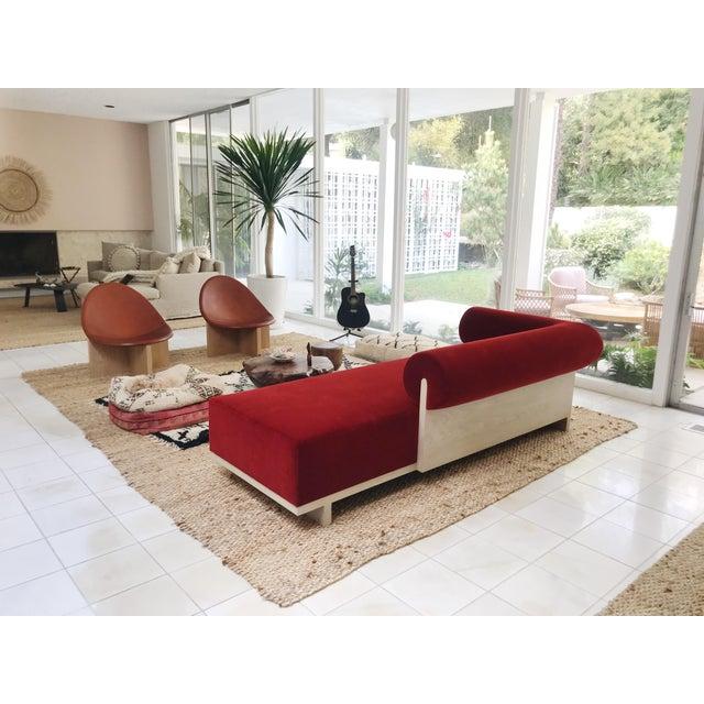 Modern Velvet Chaise Sofa - Image 5 of 7