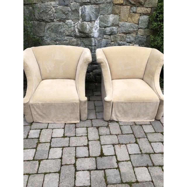 Ivory Modern Upholstered Lounge Chairs- A Pair For Sale - Image 8 of 12