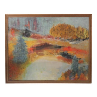 Vintage Landscape Painting on Canvas For Sale