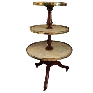 Three-Tier Walnut Marble and Brass Circular Server For Sale