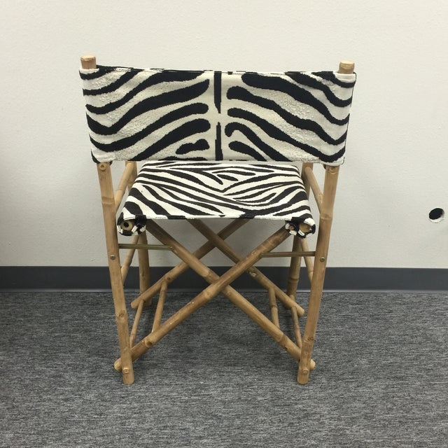 Safari Schumacher Zebra Fabric Folding Safari Chair For Sale - Image 3 of 7