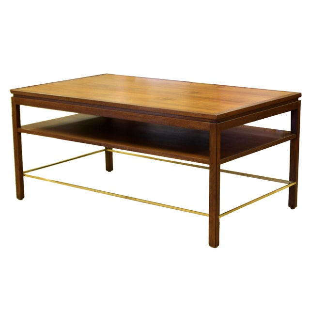 Mid Century Modern Wormley Dunbar Walnut Brass Coffee Occasional Console Table For Sale - Image 13 of 13