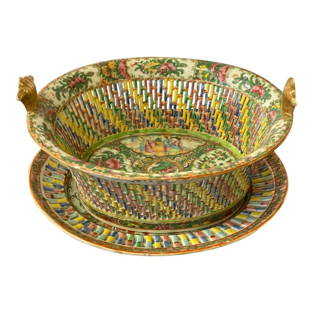 Famille Verte Pierced Bowl and Under Plate For Sale
