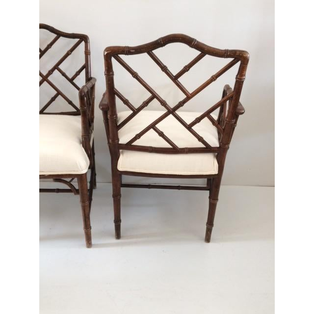 1980s Vintage Faux Bamboo Arm Chairs- A Pair For Sale - Image 12 of 13