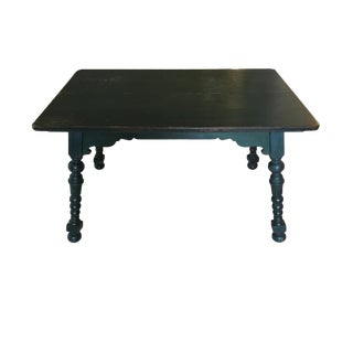 Charming Antique Library, Game or Kitchen Table, Aged Painted Green Wood With Arts & Crafts Style Turned Legs. For Sale