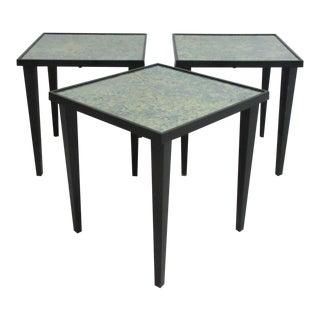 Foil Under Glass Top Nesting Tables - Set of 3