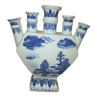 1980s Hand Painted Blue and White Chinese Porcelain Tulipiere For Sale
