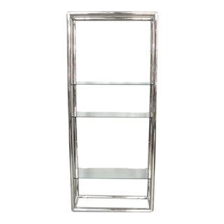 Glass and Polished Stainless Steel Shelf Unit For Sale