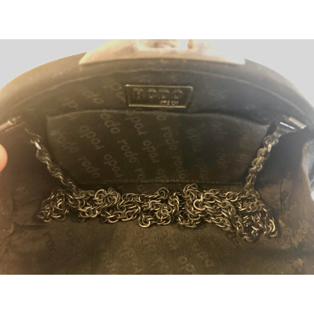 Rodo Black Silk Crystallized Clutch With Gunmetal Hardware For Sale - Image 10 of 11