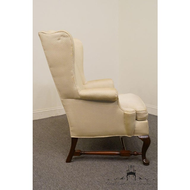 Late 20th Century Hickory Chair Upholstered Mahogany Wing Back Chair For Sale - Image 5 of 9