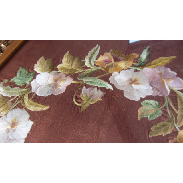 Antique Rococo Framed Embroidered Floral Wreath - Image 6 of 10