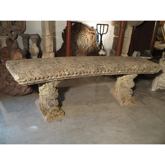 Gray Circa 1900 Reconstituted Stone Dolphins Bench From France For Sale - Image 8 of 13