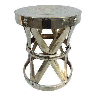 Vintage Brass X Drum Table For Sale