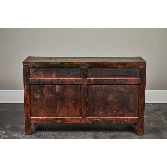 19th C. Chinese Three Drawer Elm Sideboard For Sale - Image 4 of 9