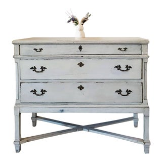 19th Century Swedish Neoclassical Distressed Painted Chest of Drawers For Sale