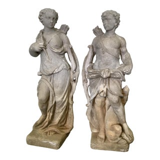 Vintage Greek Lovers Statues - a Pair For Sale