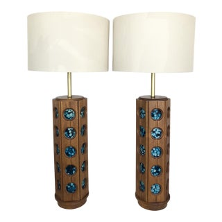 Wood & Resin Table Lamps - A Pair