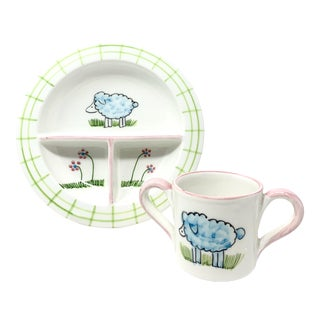 Baby Lamb Dinnerware Set, Plate & Cup, Set of 2 For Sale