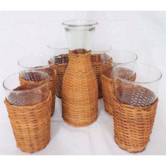 Vintage Rattan Wine Carafe and Glasses - Set of 7 For Sale - Image 4 of 11