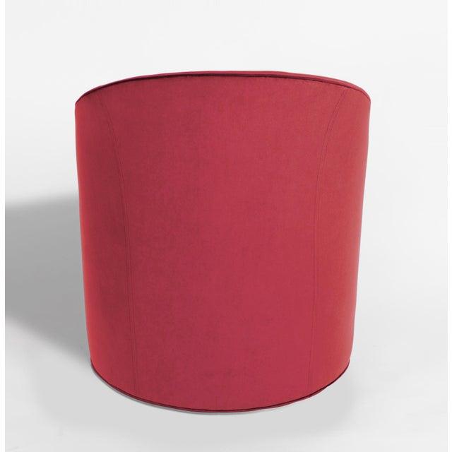 Milo Baughman Vintage Barrel Chairs Reupholstered in Hardy Cotton Cerise Pink Velvet - Set of 4 For Sale - Image 4 of 6