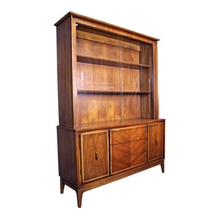 American Mid-Century Modern Walnut China Cabinet For Sale