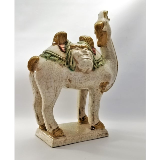 Asian Vintage Chinese Ceramic Camel Buddha Statue Sculpture - Tang Style - Asian Mid Century Modern Palm Beach Boho Chic Chinoiserie For Sale - Image 3 of 12