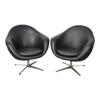 Overman Mid Century Modern Black Swivel Club Chairs - a Pair