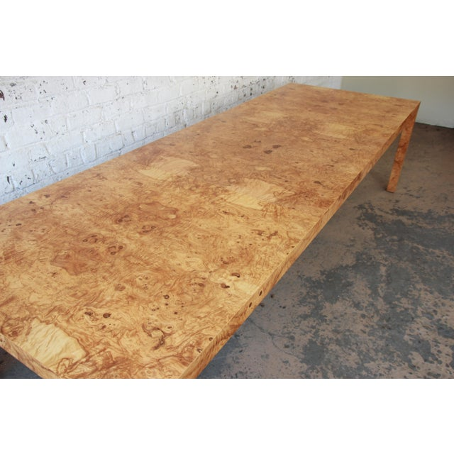 Milo Baughman for Directional Burl Wood Parsons Extension Dining Table For Sale - Image 5 of 11